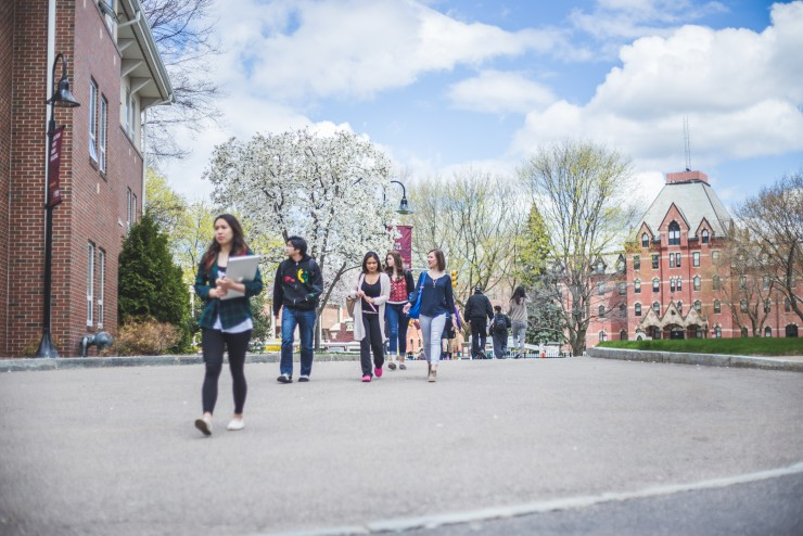 Students walking through the Dean College campus