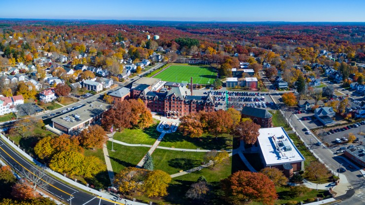 An aerial view of the beautiful Dean College campus.