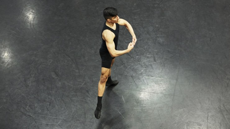 A dancer practicing in the studio.